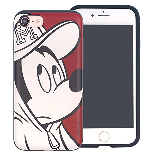 Funda iPhone 7 [Protección híbrida contra caídas] DISNEY Mickey Mouse Linda Doble Capa Hybrid Carcasas [TPU + PC] Parachoques Cubierta para [ Apple iPhone7 ] - Mickey Mouse Smile Mickey Mouse Line Art (iPhone 7)