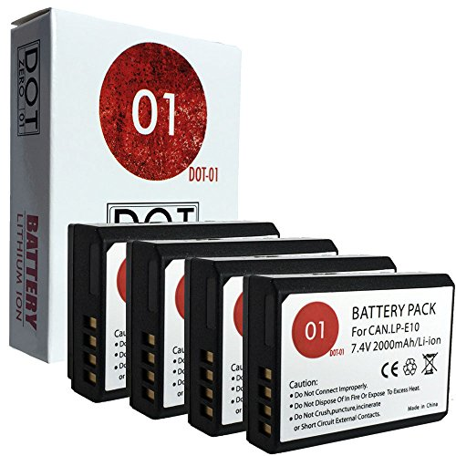 DOT-01 4x Brand 2000 mAh Replacement Canon LP-E10 Batteries for Canon EOS Rebel T6 DSLR Camera and Canon LPE10 by DOT-01