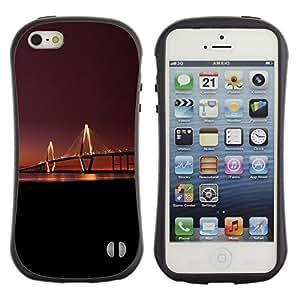 Suave TPU GEL Carcasa Funda Silicona Blando Estuche Caso de protección (para) Apple Iphone 5 / 5S / CECELL Phone case / / Bridge Light Long Night Sunset River City Art /