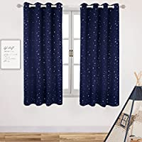 Room Darkening Curtains for Kid's Room- Silver Star Foil...