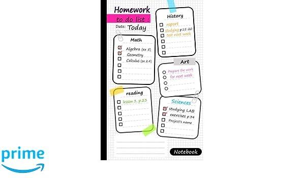 Homework To Do List Notebook Homework To Do List Notebook 5 5 X8