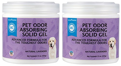 Pet Odor Absorber Gel - Air Freshener and Odor Eliminator - Specially Formulated with Natural Essential Oils - American Kennel Club - 2 Pack (2 x 15 OZ) (Natural Lavender)