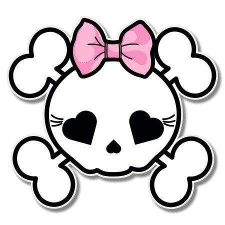 Skull Crossbones Cute with Bow Girly Vinyl Sticker - Car Window Bumper Laptop - SELECT (Girly Skull Stickers)