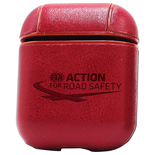 Logo FIA Action for Road Safety (Vintage Pink) Engraved Air Pods Leather Case Cover - a New Class of Luxury to Your AirPods - Premium PU Leather and Handmade exquisitely by Master Craftsmen