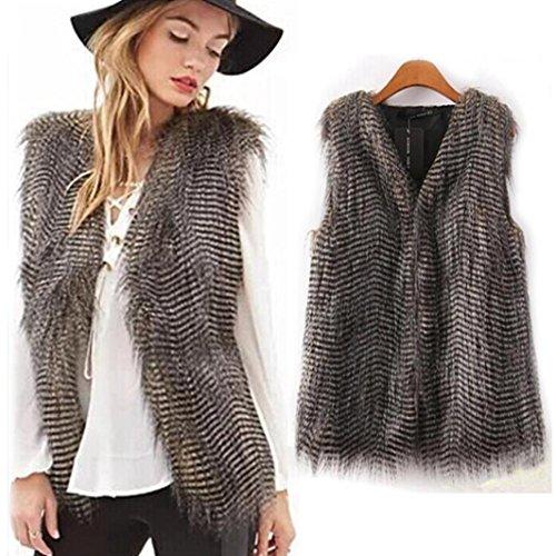 Waistcoat Colour (Leyorie Women Vest Sleeveless Coat Outerwear Long Hair Faux Fur Pure Jacket Peacock Waistcoat (Pure color, L))