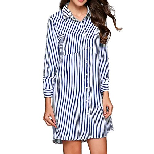 HHei_K Womens Sexy 3/4 Cropped Sleeve Turn-Down Collar Stripe Printed Pocket Button Closed Mini Shirt Dress by HHei_K