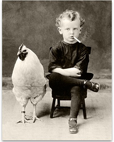 - Lone Star Art Bizarre Strange Weird Boy Smoking Cigarette with Giant Chicken - 11x14 Unframed Print - Perfect Vintage Home Decor