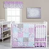 Purple and Blue Bedding Sets Trend Lab Grace 5 Piece Crib Bedding Set, Purple, Blue, Gray and White