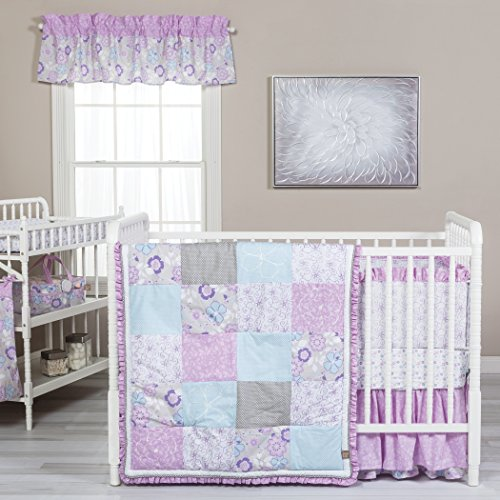Trend Lab Pink Crib Set - Trend Lab Grace 5 Piece Crib Bedding Set, Purple, Blue, Gray and White
