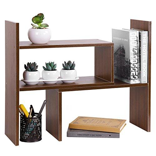 MyGift 4-Compartment Wooden Storage Shelf, Office Desktop Bookshelf Rack, Brown