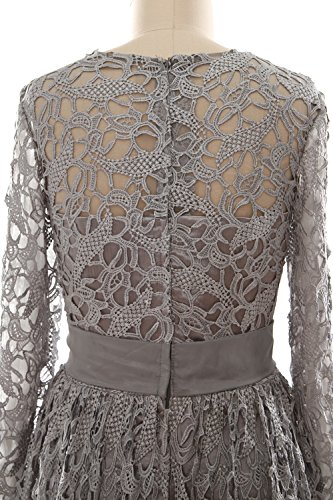 MACloth Women Long Sleeve Lace Long Mother of Bride Dress Formal Evening Gown Verde Oscuro
