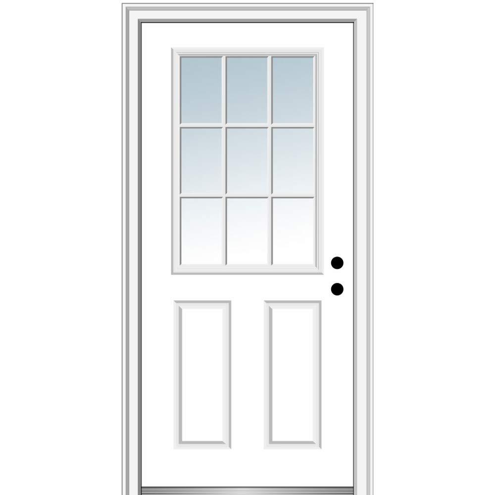 National Door Company ZZ00780L Steel Primed, Left Hand in-Swing, Prehung Front Door, 9 Lite 2-Panel External Grilles, Clear Glass, 36