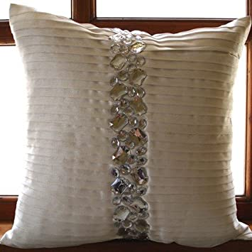 Luxury White Decorative Pillows Cover, Pintucks U0026 Crystals Textured Pillows  Cover, 18u0026quot;x18u0026quot