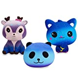 Grobro7 Kawaii Animal Slow Rising Squishy, Scented Soft Stress Relief Toy, Decorative Gift for Kids Party Toy, Including Cute Starry Deer, Starry Cat, Starry Panda, Starry Animal 3 Pack