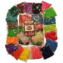 Loomy Bands 8500-Piece Loom Bands Refill Kit (20 Rainbow Colors) with 500 Neon Glow Clips