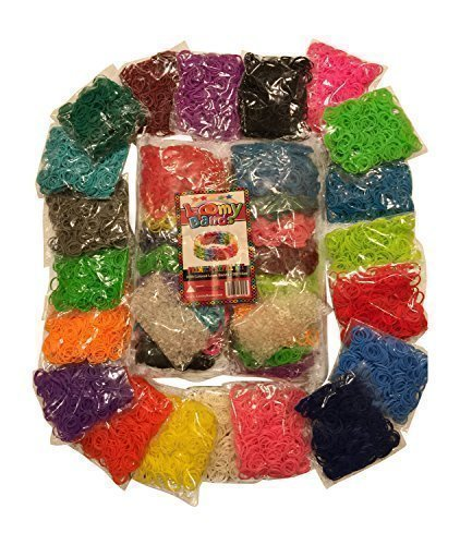Loomy Bands 8500-Piece Loom Bands Refill Kit (20 Rainbow Colors) with 500 Neon Glow Clips - Phosphate Mini Lab
