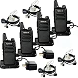 Retevis RT22 Team Walkie Talkie 16 CH UHF 400-480MHz VOX Two Way Radios with USB Charging Base(4 Pack) and 2 Pin Covert Air Acoustic Earpiece(4 Pack)