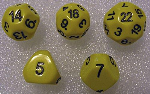 Yellow - Set of 5 Unusual Dice: d5, d7, d14, d18, and d22