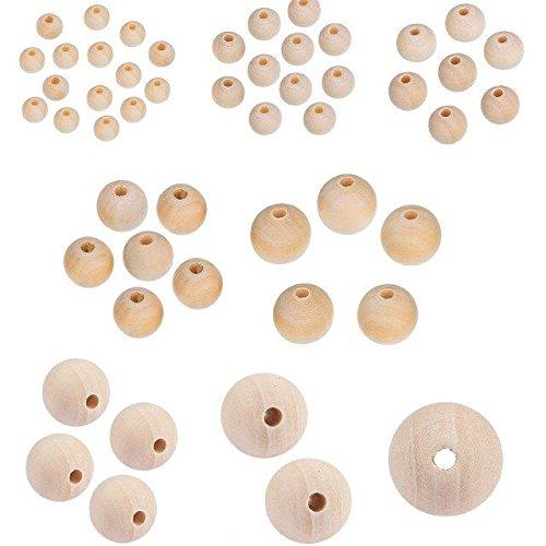 Wood 6mm Round Beads - TOAOB 170pcs Natural Round Wood Beads Loose Spacer Beads 6mm 8mm 12mm 14mm 16mm 20mm 25mm