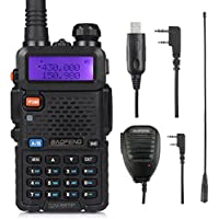 Baofeng Walkie Talkie UV-5RTP Dual Band Two Way Radio Transceiver (Upgraded Version of UV-5R), 136-174/400-520MHz True 7W High Power Ham Radio, Programming Cable + RD-771 Antenna + Speaker Mic