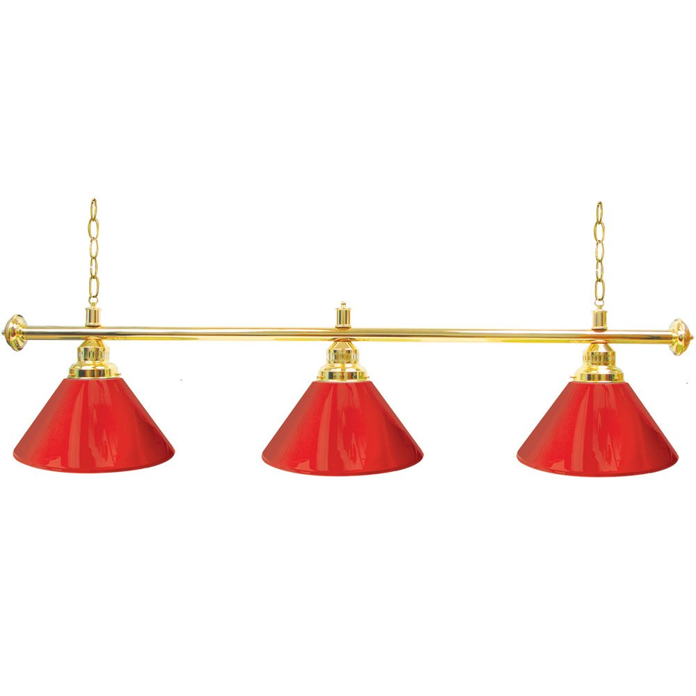 Trademark Gameroom Red Three Shade Gameroom Lamp, 60'' (Gold Hardware)