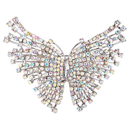 EVER FAITH Women's Austrian Crystal Wedding Butterfly Insect Brooch Iridescent Clear AB Silver-Tone