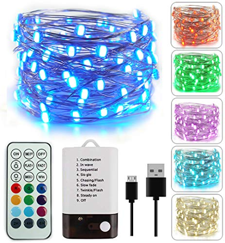 BOHON Fairy Lights 33ft 100LEDs String Lights Battery Operated and USB Powered Firefly Lights Remote for Wedding Parties Valentine's Day Christmas Decor (Multicolor+ Warm White) from BOHON