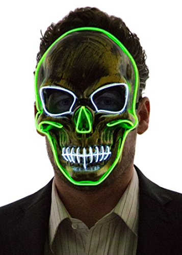 Neon Nightlife Light Up Skull Mask, Scary Skeleton Death Mask, Halloween LED Grim Reaper Costume, Green & White