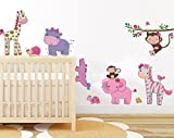 Pink Girly Safari Animal Wall Decal Baby Girls Room Wall Art Sticker Baby Monkey Nursery Wall Decor Removable Peel&stick