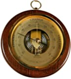 Fischer 1436R-12 Open Face Wood and Brass Barometer, 6 1/2""