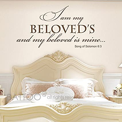 BATTOO Vinyl Wall Art - I am my beloved\'s and my beloved is mine Song of  Solomon 6:3 - Romantic Bible Scripture Wall Decal Quote Master Bedroom Love  ...