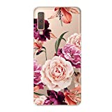 Ostop Samsung Galaxy A7 2018/A750 Case,Vintage Floral Pattern Soft Silicone TPU for Women Girls Crystal Clear Slim Thin Anti-Scratch Cover for Samsung Galaxy A7 2018/A750-Pink Purple Peony