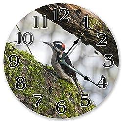 Sugar Vine Art 10.5 Downy Woodpecker Clock - Large 10.5 Wall Clock - Home Decor Clock