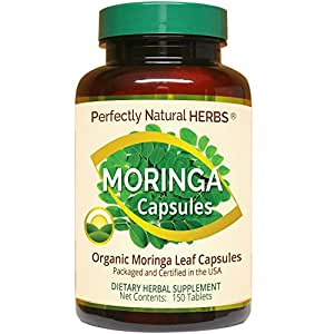 150 Capsules Made From Certified Organic Moringa, Also Known As Malunggay Capsules by Perfectly Natural Herbs