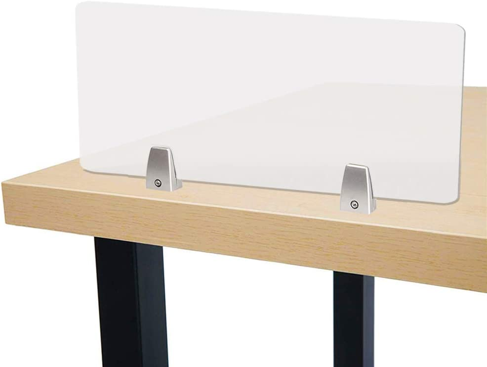 """Owfeel 31"""" L×12"""" Acoustic Desk Divider Frosted Desktop Mounted Privacy Panel, Reduce Noise & Visual Distractions for Offices, Libraries, Classrooms (Not Include Clip)"""