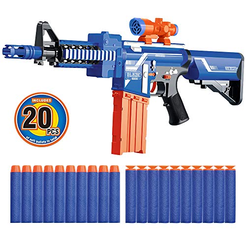 (JOYOOC Alfa-I Kids Blaster Gun Toy, Semi-Automatic Blaster Shooter with Speed-Load Technology, Sight Attachment, 20 Soft Foam Darts, Long Shooting Distance Range for Kids, Teens, and Adults)