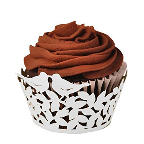 Tinksky Birthday Cake Cupcake Wrappers - 50pcs Love Birds Laser Cut Lace Muffin Cases Baking Cup Case Wedding Party Decor (White)