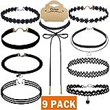 Outee 9 PCS Black Choker Necklace Set Women Choker Set Tattoo Lace Chokers