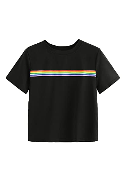 f7fab282b9 Romwe Women's Summer Rainbow Color Block Striped Crop Top School Girl Teen  Tshirts at Amazon Women's Clothing store: