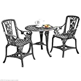 Clifford James Antique Effect Rose Design 2 Seater Bistro Patio Set with Table UV-Stabilised PVC (Pewter)