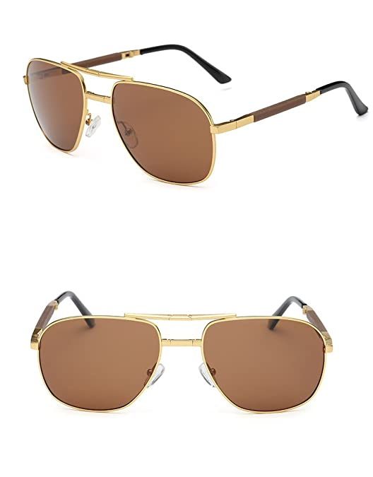 e8bea6cb806 Ronsou Men Collapsible Aviator Polarized Sunglasses UV400 Eyewear Glasses  For Driving Fishing Outdoor gold frame brown lens  Amazon.ca  Jewelry