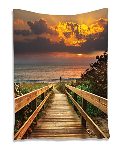Beach Decor for Fisherman Wooden Bridge Panoramic Sunset Ocean View Nature Art Picture Landscape Seascape Marine House Wall Hanging Tapestry Dorm Bedroom Living Room Decorations, Brown Orange Green