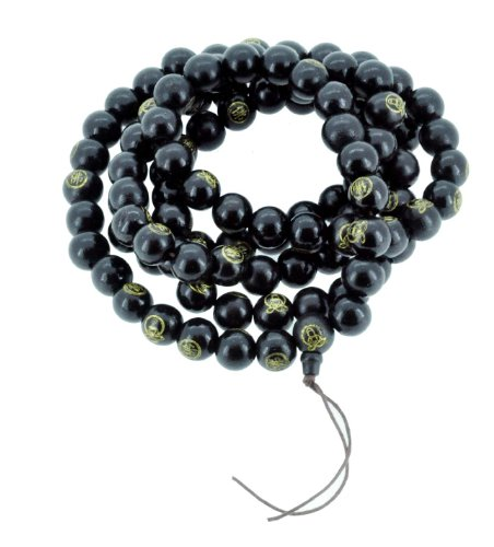 Tibetan 108 Black Gold Tone Buddha 14mm Buddhist Wooden Mala Prayer Beads Long (Wooden Monk Beads)
