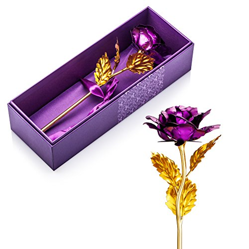 Valentines Gifts for Her, Gold Foil Purple Rose Flower, Christmas Wedding Mothers Day Anniversary Gift