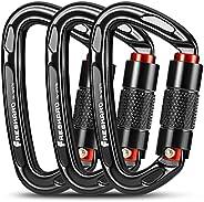 FresKaro UIAA Certified 25KN Auto Locking Climbing Carabiner Clips,Twist Lock and Heavy Duty Carabiners for Ro