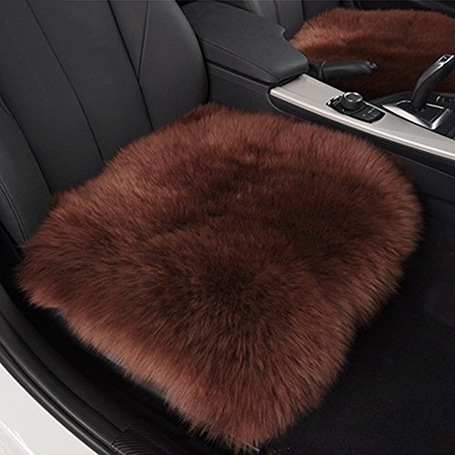 Sheepskin Chocolates (HAOCOO 18 Inch Luxurious Faux Sheepskin Long Wool Car Seat Covers Chair Pad (Chocolate) (One Seat Cover))