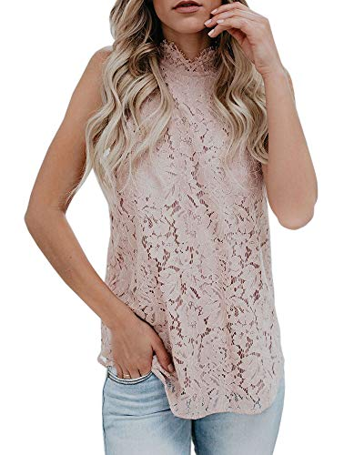(Valphsio Womens Lace Crochet Tank Tops Sleeveless Halter Scallop Clubwear Blouse Tops Pink)