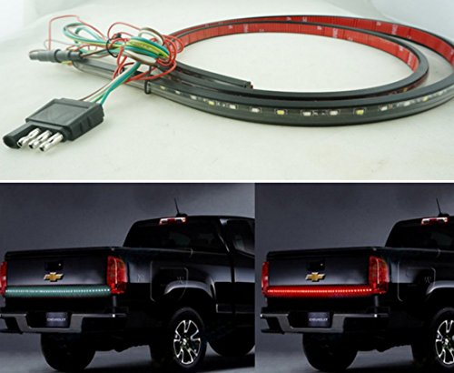 """Ice-man Red/white Waterproof 60"""" Tailgate LED Light Strip Bar Brake Reverse Turn Signal Lights for 1999-2015 Dodge Ram 1500 2500 3500 4500 5500 Chevrolet Chevy Silverado Avalanche Cadillac Truck SUV"""