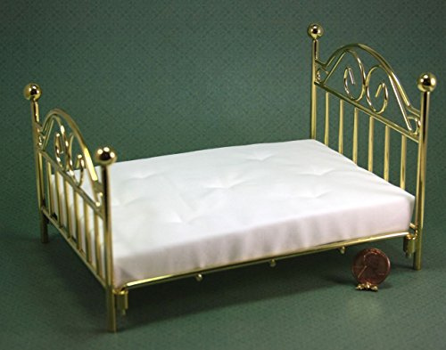 Dollhouse Miniature Double Brass Bed with Mattress by Town Square Miniatures from Dollhouse Miniature