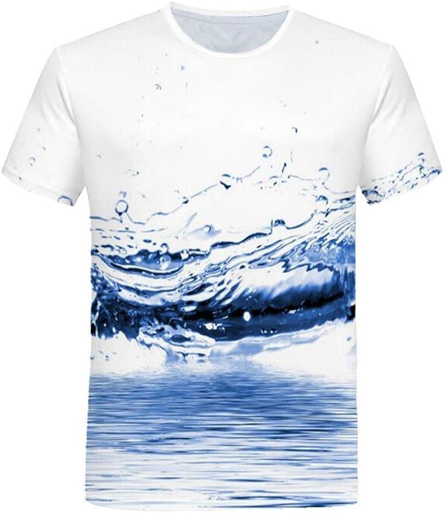 Hombres De Verano Cuello Redondo Suelto 3D De ImpresióN De Gota De Agua Pura CóModa Camiseta Delgada De Manga Corta: Amazon.es: Ropa y accesorios